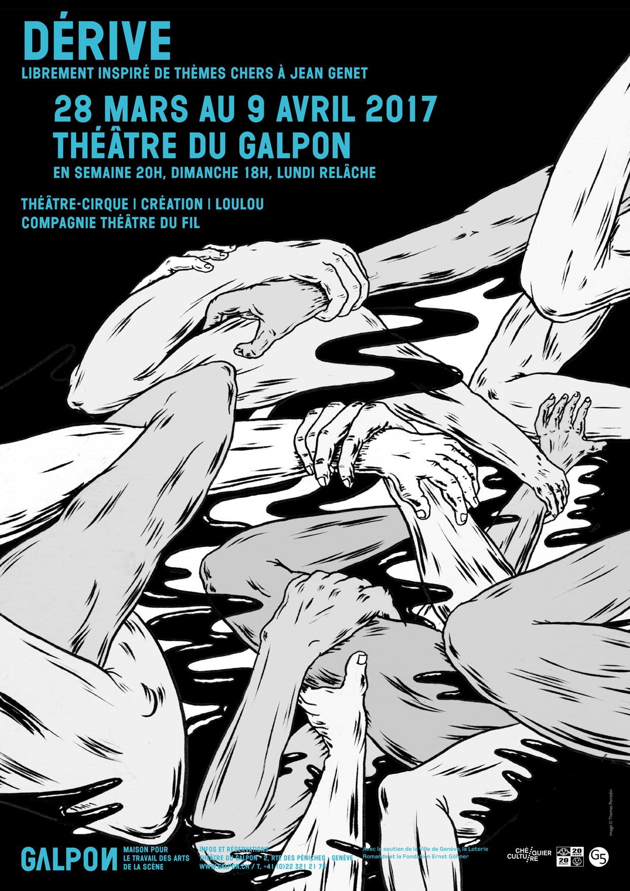 Affiche du spectacle Dérive, Théaâtre du Fil, Loulou, Genève